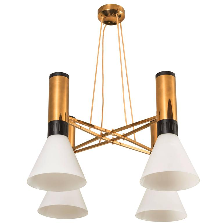 Four-Shade Glass and Brass Chandelier by Stilnovo