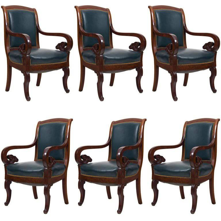 Six Mahogany and Leather French Armchairs, 19th Century