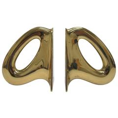 Pair of Carl Aubock Brass Bookends, Signed, Austria, 1950s