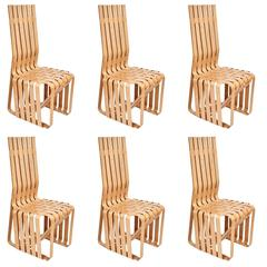 "Set of Six ""High Sticking"" Tall Dining Chairs by Frank Gehry"