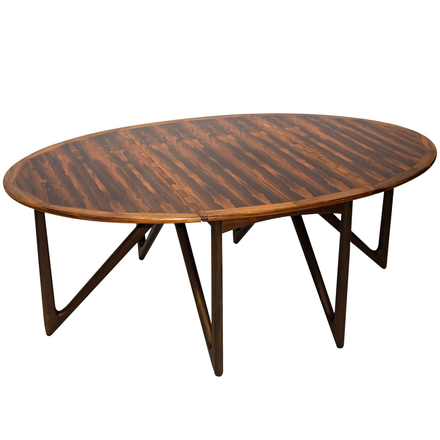 Danish Mid Century Modern Occasional Side Coffee Table Rosewood: Danish Rosewood Oval Dining Table By Kurt Østervig For
