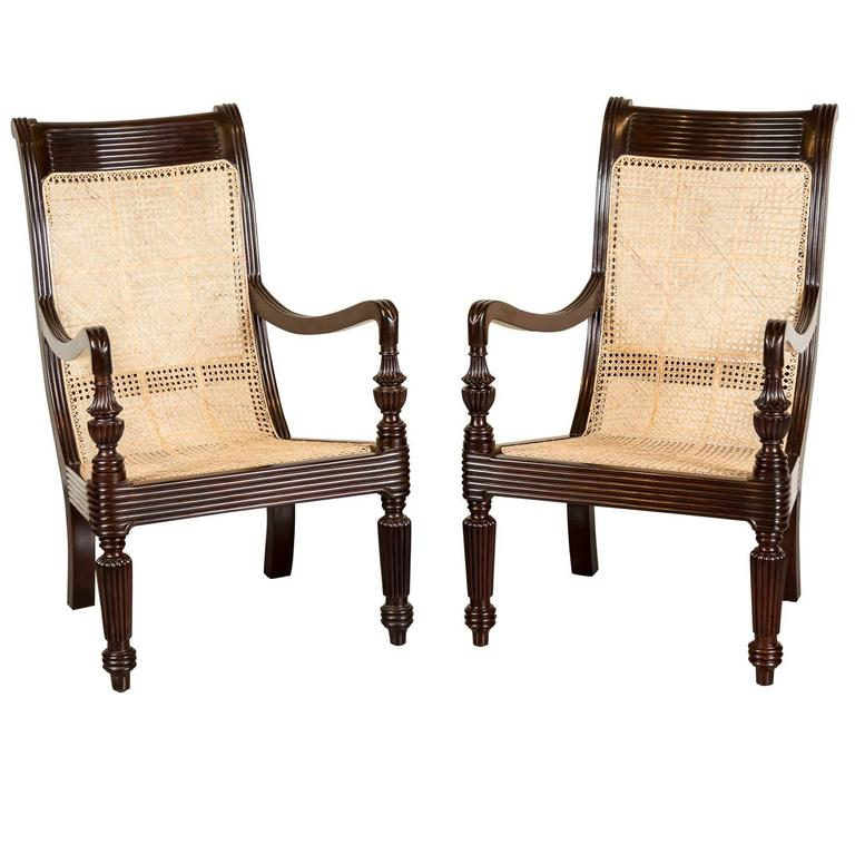 Pair Of Anglo Indian Or British Colonial Rosewood And Cane