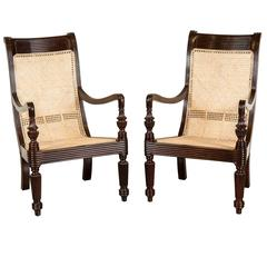 Pair of Anglo-Indian or British Colonial Rosewood and Cane Library Chairs