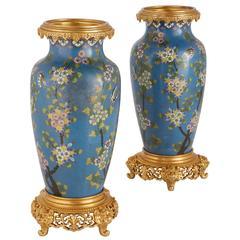 Pair of Japonisme Ormolu Mounted Cloisonne Enamel Vases