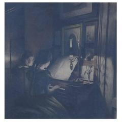 Peter Ilsted: Interior with two girls at the piano, Mezzotint in colors Painting