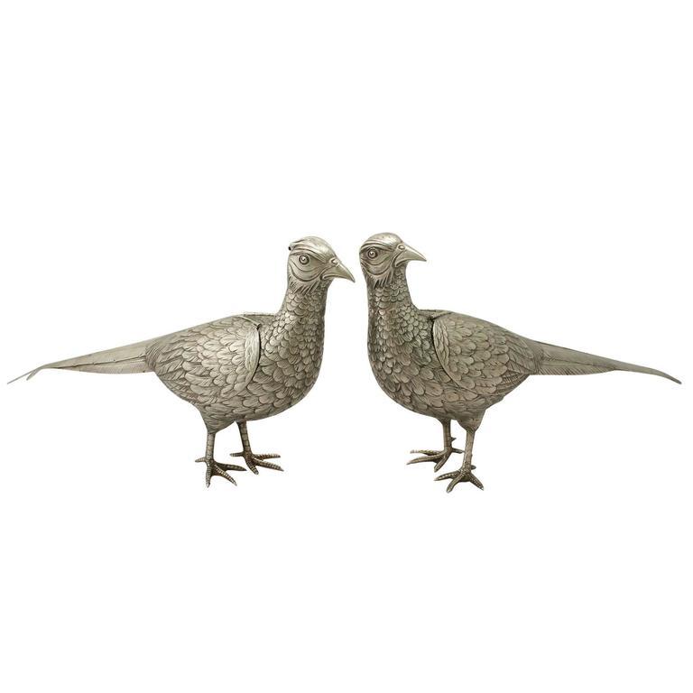 German Silver Pheasant Sugar Boxes, Antique, circa 1900