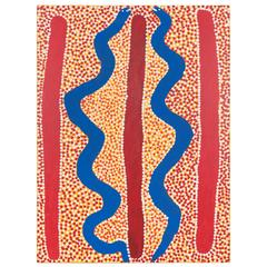 Australian Aboriginal Painting by Spider Snell with Blue and Red Snakes
