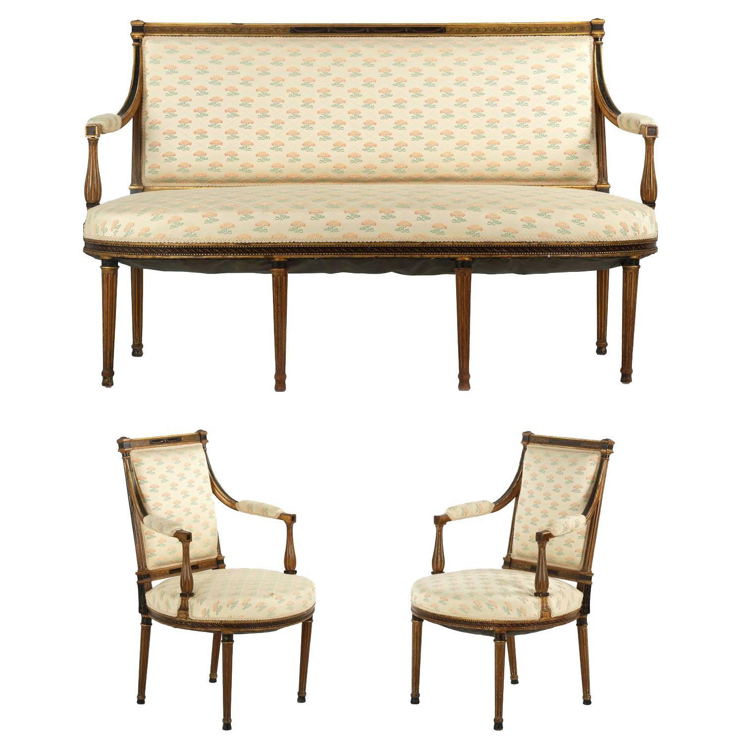 French Neoclassical Salon Suite with Settee and Pair of Armchairs