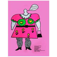 1960s Niki de Saint Phalle Pop Art Exhibition Poster Christmas