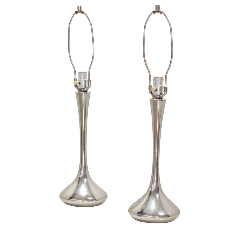 Pair of Chrome Mid-Century Modern Table Lamps For Sale