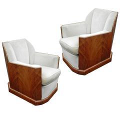 Pair of Art Deco Walnut Veneer Armchairs