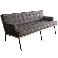 DGD Sofa, Plaid Wool, Black / Grey Powder Coated Steel, Maple Harwood