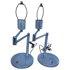 Early Pair of Von Nessen Swing Arm Table Lamps