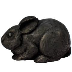 Black Gesso and Raw Graphite Resin Sculpture of a Pygmy Rabbit by Darla Jackson