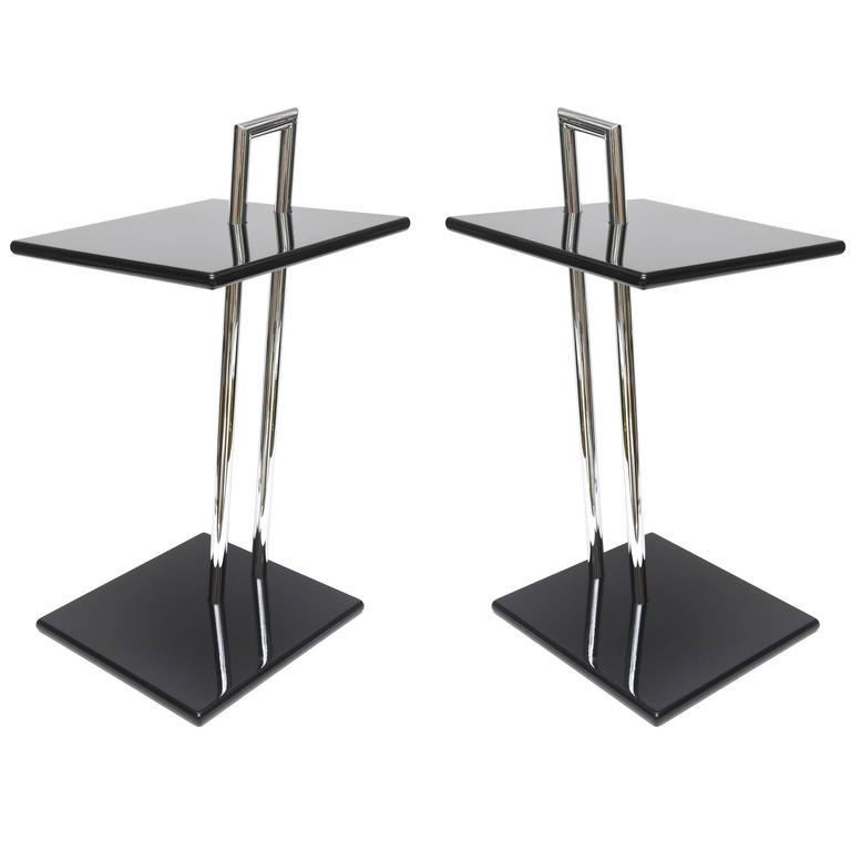 Eileen Gray Second Edition Black Lacquer Wood And Chrome Side Tables For