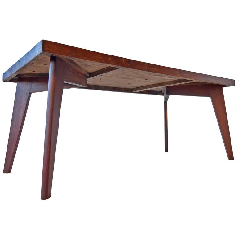Exceptional Pierre Jeanneret Dining Table in Solid Sissoo Rosewood