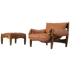 Sergio Rodrigues 'Sheriff' Lounge Chair with Ottoman in Original Brown Leather