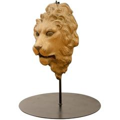 Cast Iron Lion's Head Architectural Medallion with Stand, circa 1920