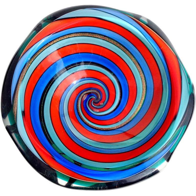 Murano Red Blue Aqua Optic Swirl Italian Art Glass Decorative Dish Bowl