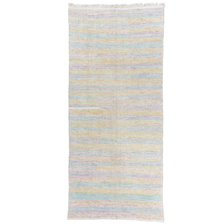 Striped Vintage Kilim Runner In Pastel Colors For Sale At