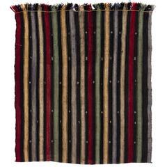 Banded Vintage Turkish Kilim Rug