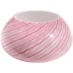 Fratelli Toso Murano Pink Zanfirico Twist Ribbons Italian Art Glass Flower Vase