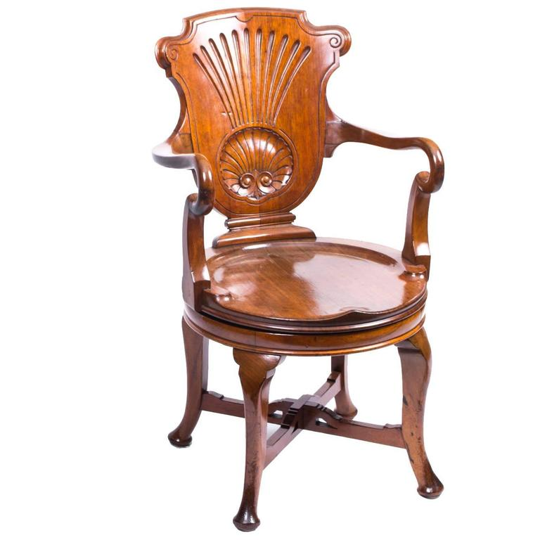19th Century Edwardian Walnut Revolving Desk Chair For