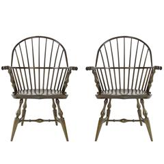 Pair of Boston Sackback Armchairs, Hand-Carved Knuckles, Kelp Green Maple