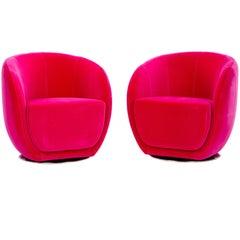 Mid-Century Style Fuchsia Swivel Chairs