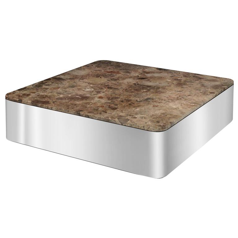Uira Grayboff Coffee Table in Polished Steel and Marble, 1970s For Sale