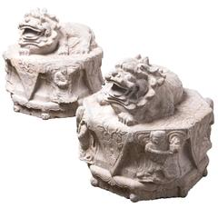 Pair of Reclining Stone Fu Dogs