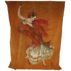 1920s Dancing Señorita Hand-Painted Tapestry Panel