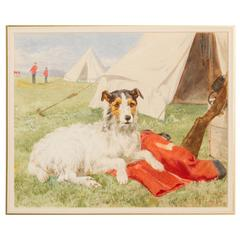 "Watercolor ""Military Terrier"" by Charles Collins"
