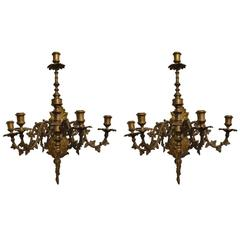 Fantastic 19th Century Five-Arm Gilt Bronze Wall Candle Holders