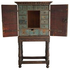 Swedish Spice Cabinet with 18 Small Drawers, Baroque
