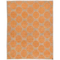 21st CenturyModern Orange, Gray Geometric Indian Sumakh Rug