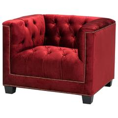 Edmond Armchair with Essex Red Fabric in Wooden Structure
