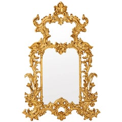 Bergman Mirror in Mahogany Wood Gold Leaf Painted or Black Lacquered