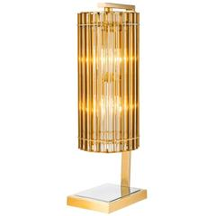 Claudia Table Lamp in Nickel Gold Finish and Glass