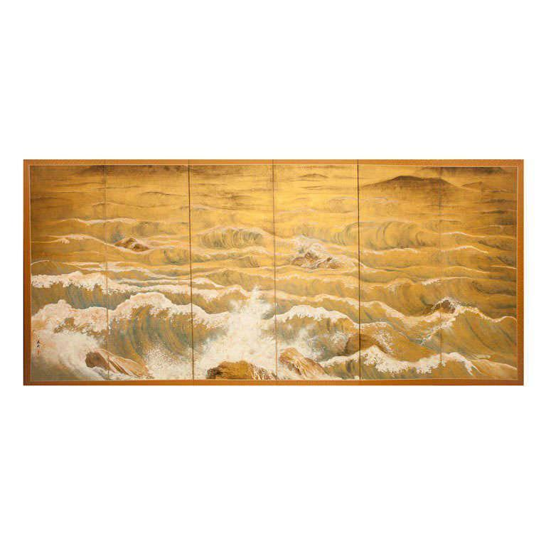 Japanese Six-Panel Screen, Rocks and Waves in a Coastal Landscape