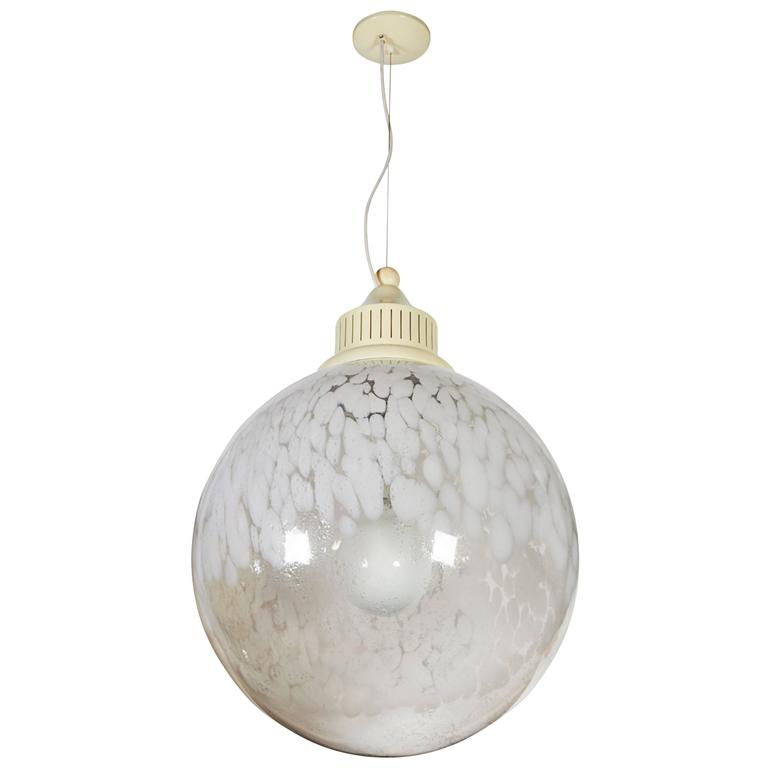 Mid Century Italian Murano Glass Globe Pendant Light For Sale