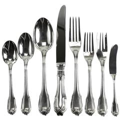 Eight-Piece Sterling Silver Flatware Service for 12 in Borgia by Buccellati
