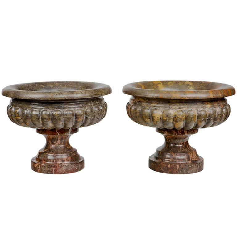 Pair of 19th Century Marble Urns For Sale