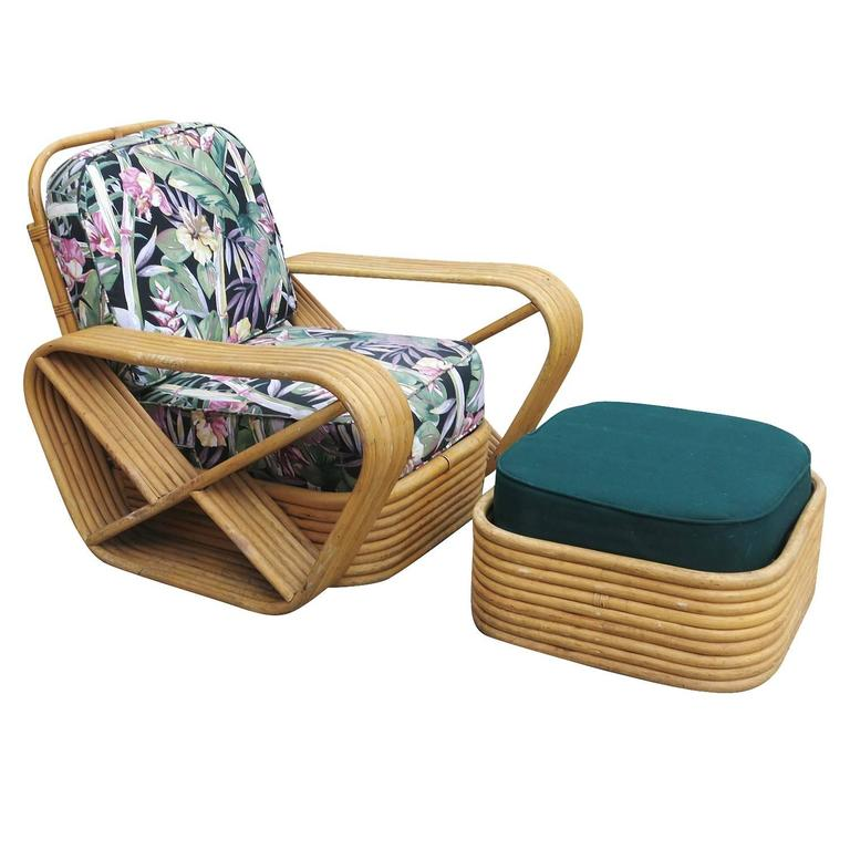 Restored Paul Frankl Style Six-Strand Square Pretzel Rattan Lounge Chair Ottoman