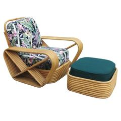 Paul Frankl Style Six-Strand Square Pretzel Rattan Lounge Chair with Ottoman