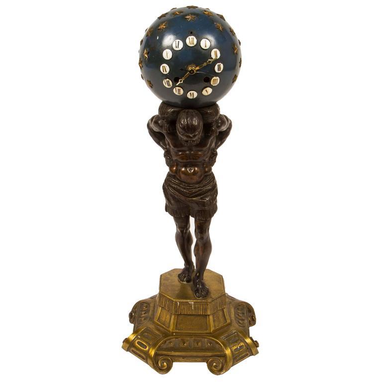 19th century bronze and enamel clock atlas with globe for sale at 19th century bronze and enamel clock atlas with globe for sale gumiabroncs Image collections