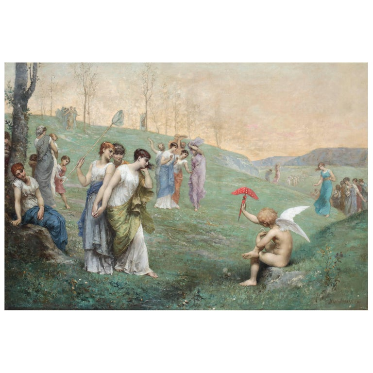 """19th Century Oil Painting """"Cupid and His Admireres"""" by Jean Ernest Aubert For Sale"""
