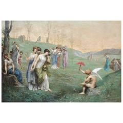 """19th Century Oil Painting """"Cupid and His Admireres"""" by Jean Ernest Aubert"""