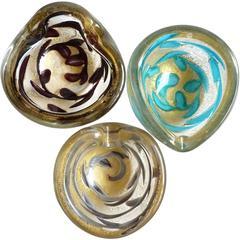 Ercole Barovier Murano Gold Flecks Purple Gray Blue Leaf Italian Art Glass Bowls