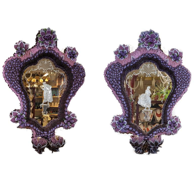 Pair of Two Lights Mirrors Beaded with Etched Glass Figures 1